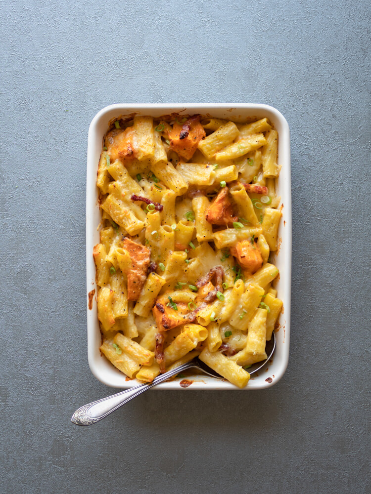 Pumpkin and Pancetta Pasta Bake