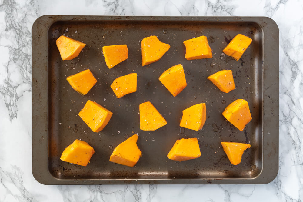 Pumpkin and Pancetta Pasta Bake - Pumpkin Cubes on a Baking Tray