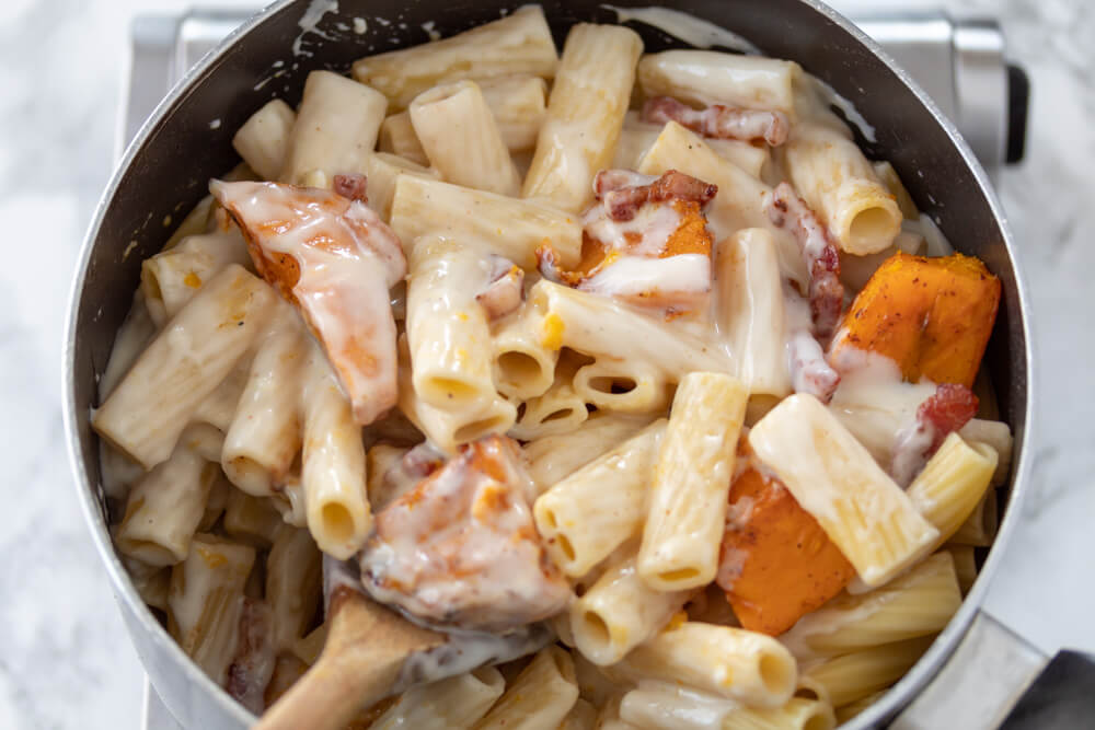 Pumpkin and Pancetta Pasta Bake - Adding Bechemel Sauce, Roasted Pumpkin and Pancetta to the Cooked Rigatoni