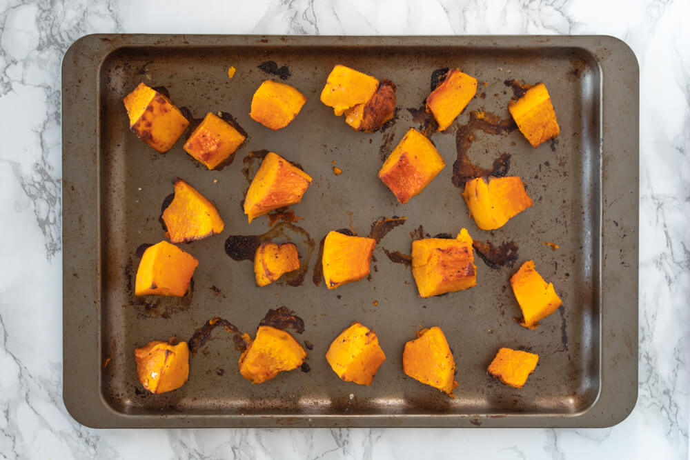 Pumpkin and Pancetta Pasta Bake - Roasted Pumpkin Cubes