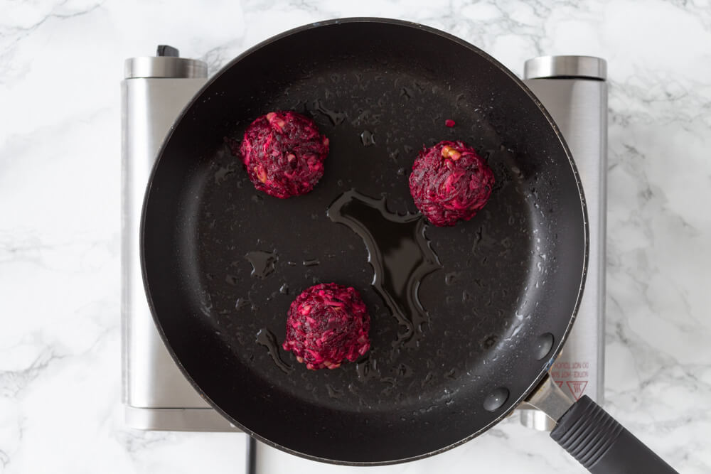 Delicious Beetroot and Walnut Fritters - Make fritters into a balls