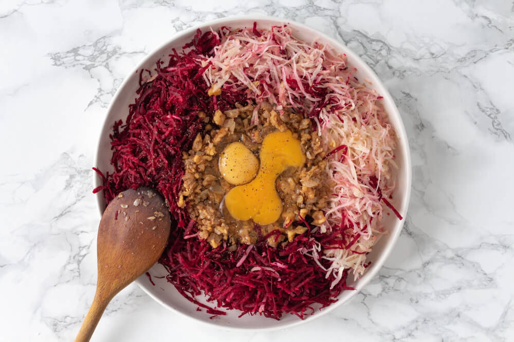 Delicious Beetroot and Walnut Fritters - Combine Gratings, Walnuts, Onions, Eggs