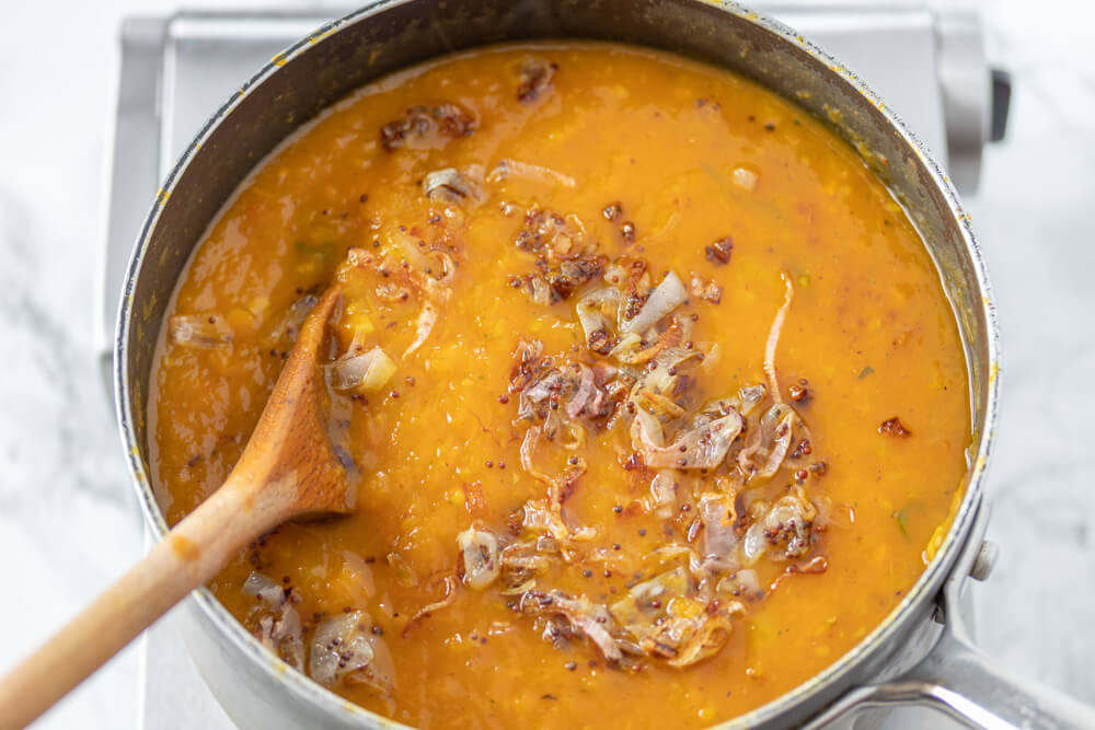 Roasted Pumpkin Curry Soup - Adding the Temper to the Pumpkin Curry Soup