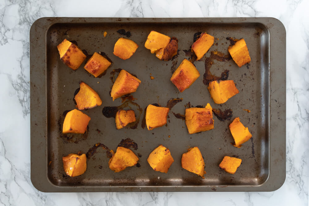 Roasted Pumpkin Curry Soup - Baked Pumpkin Cubes