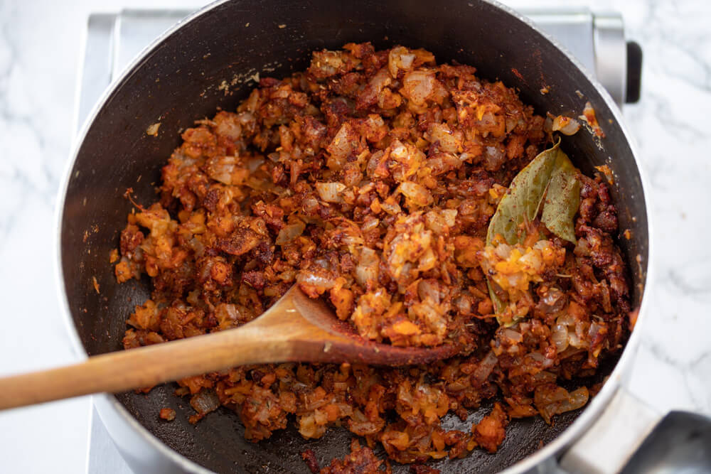 Tasty Vegan Chili - Sauteing Spices